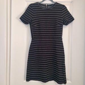 Madewell black & white shirt sleeve striped dress